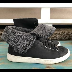 Women's Ugg Shearling lines high tops.